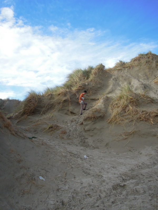 Erik walking in the dunes, Oreti Beach, New Zealand