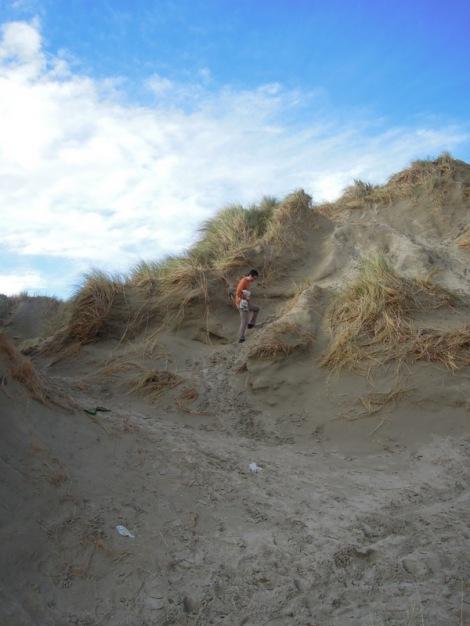 Erik walking in the dunes, Oreti Beach, New Zealand