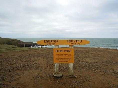Signage at Slope Point, New Zealand