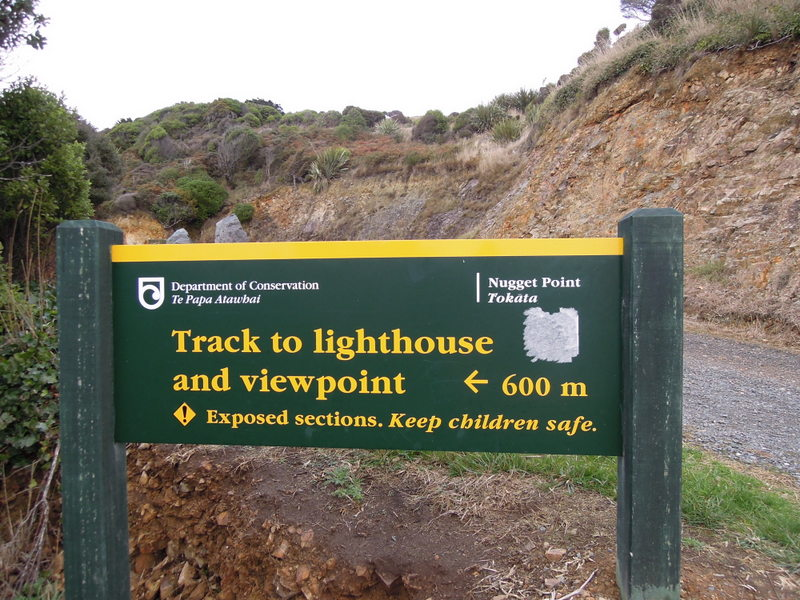 Sign, Nugget Point, New Zealand
