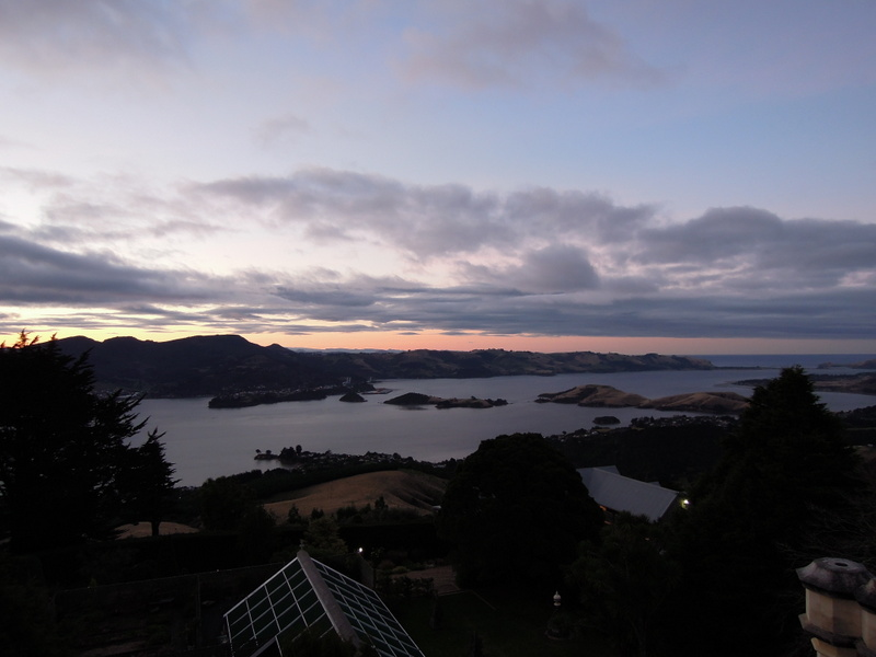 Sunset view from tower, Larnach Castle, New Zealand