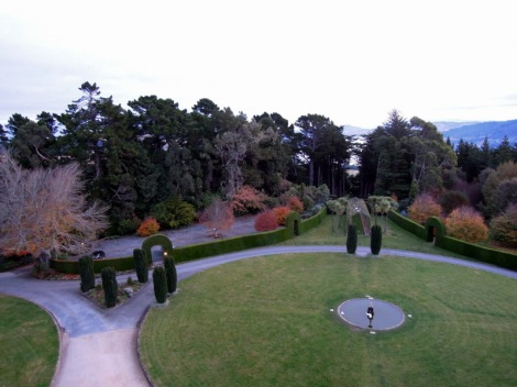 View, gardens, Larnach Castle, New Zealand
