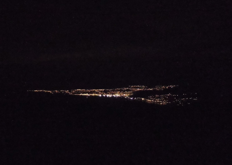 View of Dunedin, New Zealand, night lights