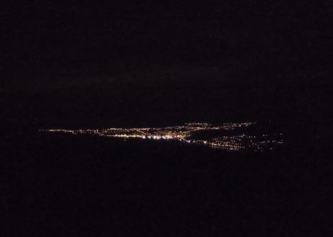 View of Dunedin, New Zealand, night lights