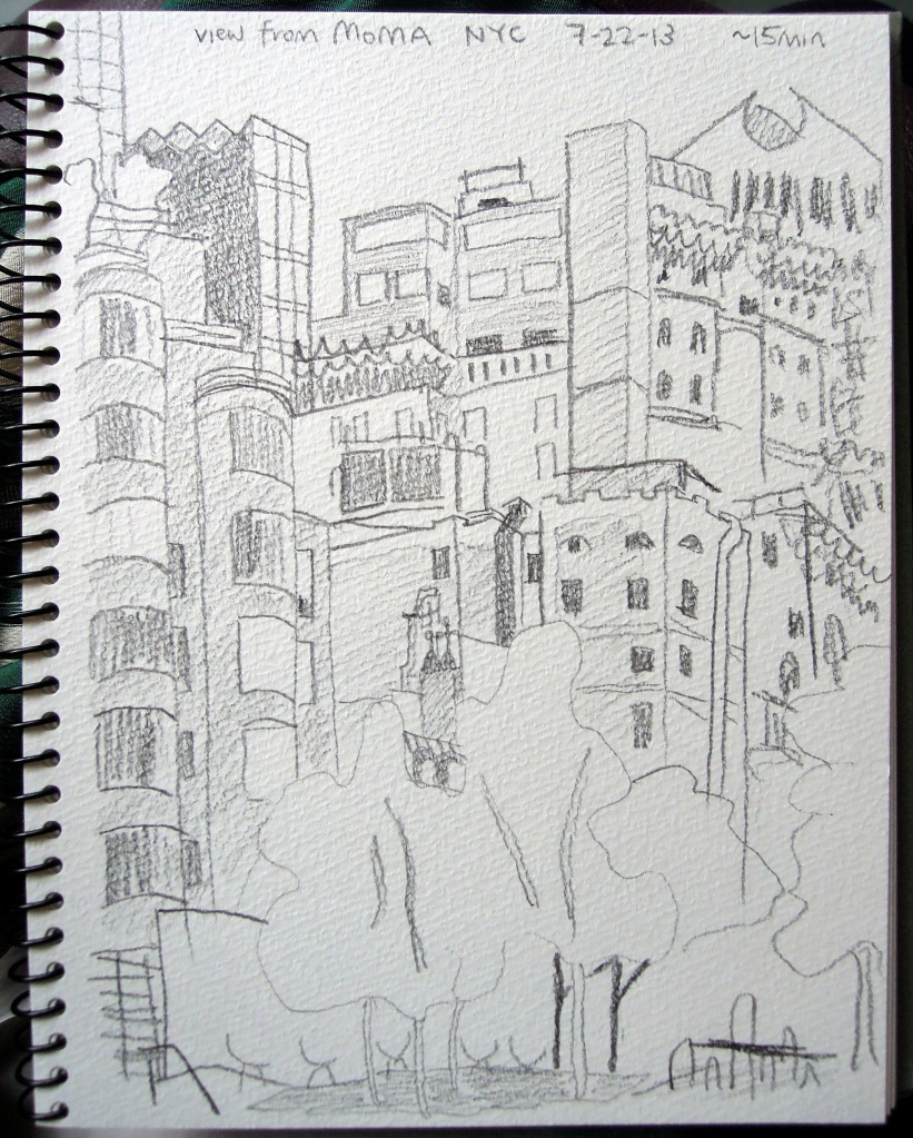 Sketch of the view from MoMA's first floor
