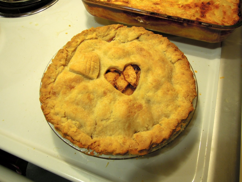 apple pie with heart-shaped cutout