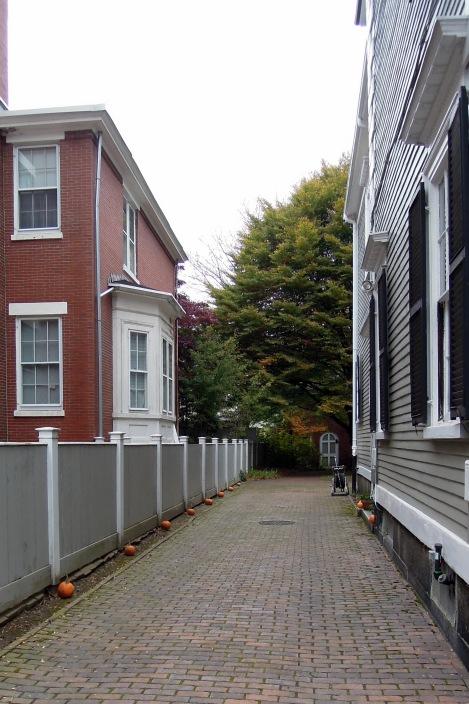 Pumpkins along a residential walkway