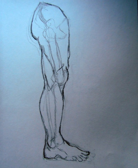 Sketch of a man's leg
