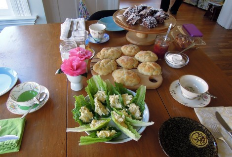 Breakfast table with lamingtons, scones, camellias, egg salad in lettuce leaves