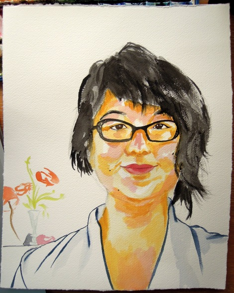 Watercolor self-portrait with vase of flowers in the background