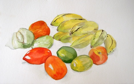Watercolor still life of fruit and vegetables