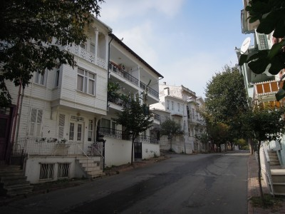 A street of old white houses, Heybeliada, Princes Islands, Istanbul