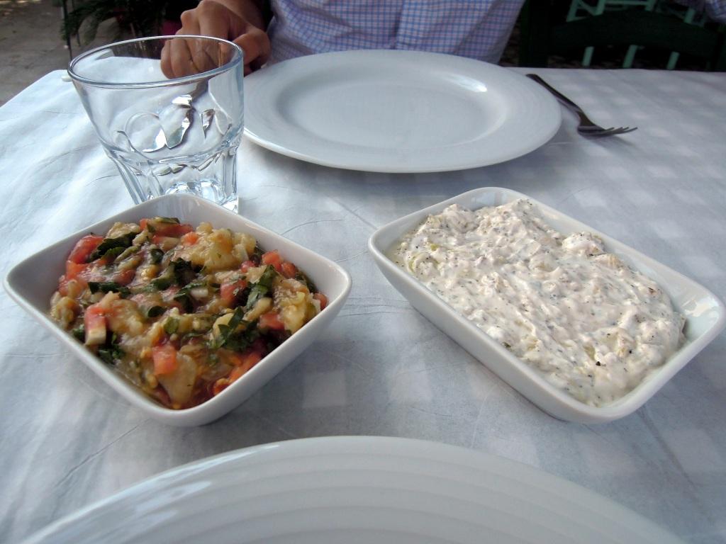 Eggplant and zucchini-walnut cold meze, Heyamola restaurant, Heybeliada, Princes Islands, Istanbul