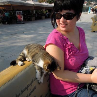 Lisa Hsia with a friendly local cat, Heybeliada, Princes Islands, Istanbul