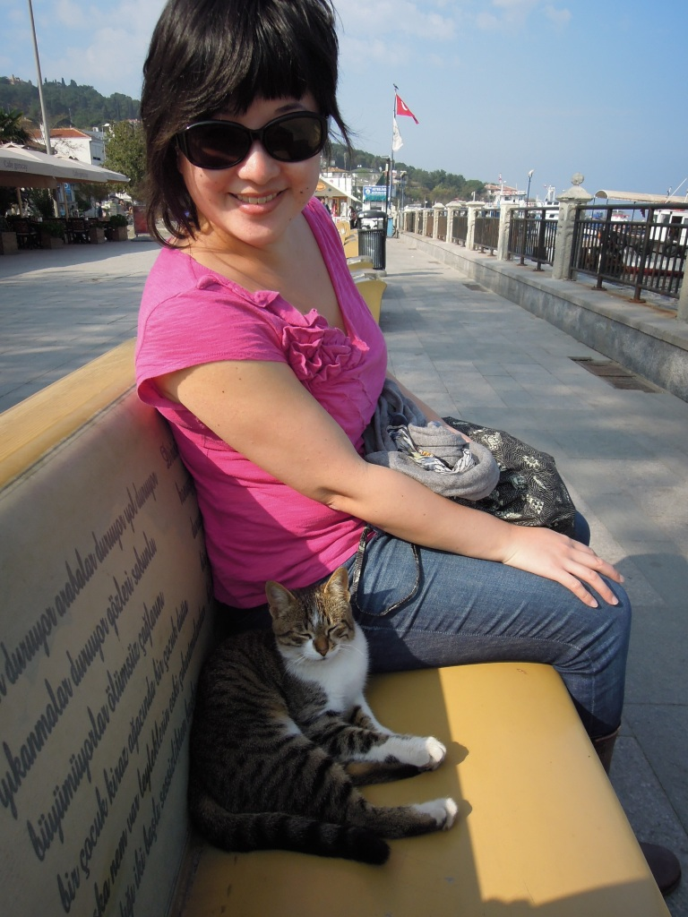 Lisa Hsia and friendly local cat, Heybeliada, Princes Islands, Istanbul