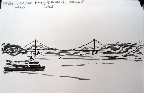 Ink sketch of a bridge and ferry in the Bosphorus, Istanbul