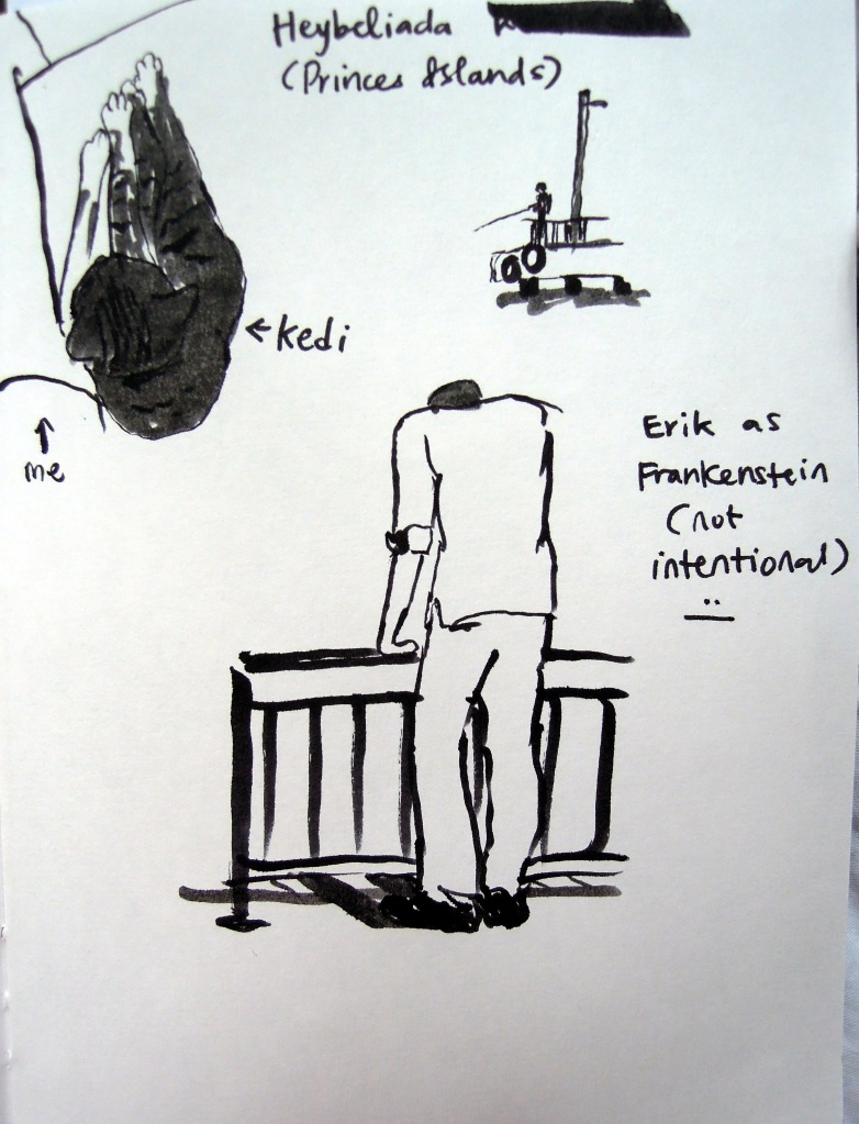 Sketches by Lisa Hsia at Heybeliada waterfront, Princes Islands, Istanbul