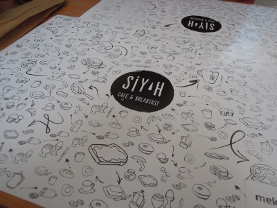 Placemat showing drawings of breakfast items, Siyah Cafe & Breakfast, Istanbul