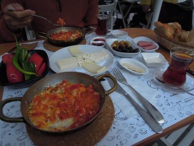 Kahvalti (Turkish breakfast) for two with menemen, Siyad Cafe & Breakfast, Besiktas, Istanbul