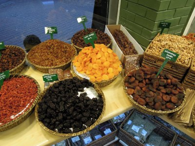 Dried fruit in baskets, Besiktas Aktari shop, Istanbul