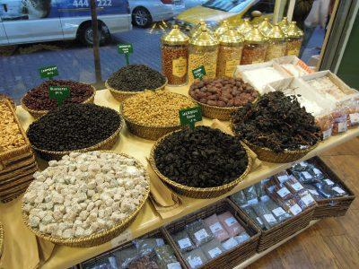 Dried fruit and lokum in baskets, Besiktas Aktari shop, Istanbul