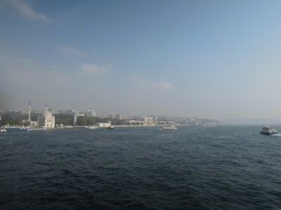 View from the Bosphorus of Istanbul with a large mosque plainly visible on the shoreline