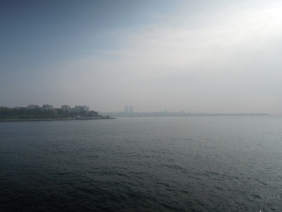 Smoggy view of the Asian side of Istanbul, from the ocean