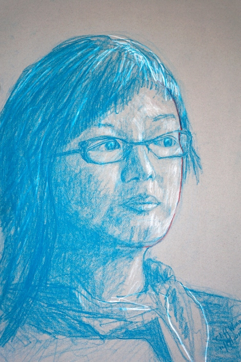 Blue pastel-pencil portrait of a woman wearing glasses