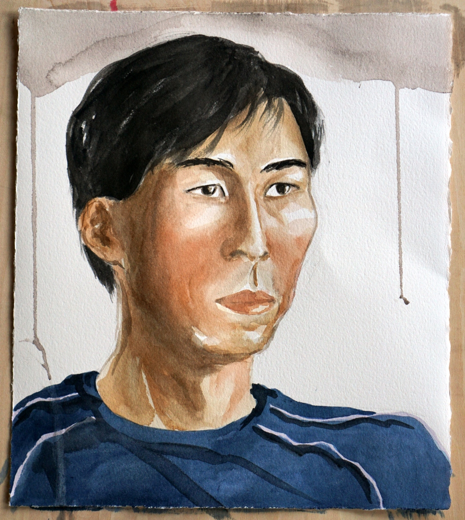 Watercolor portrait of an Asian man