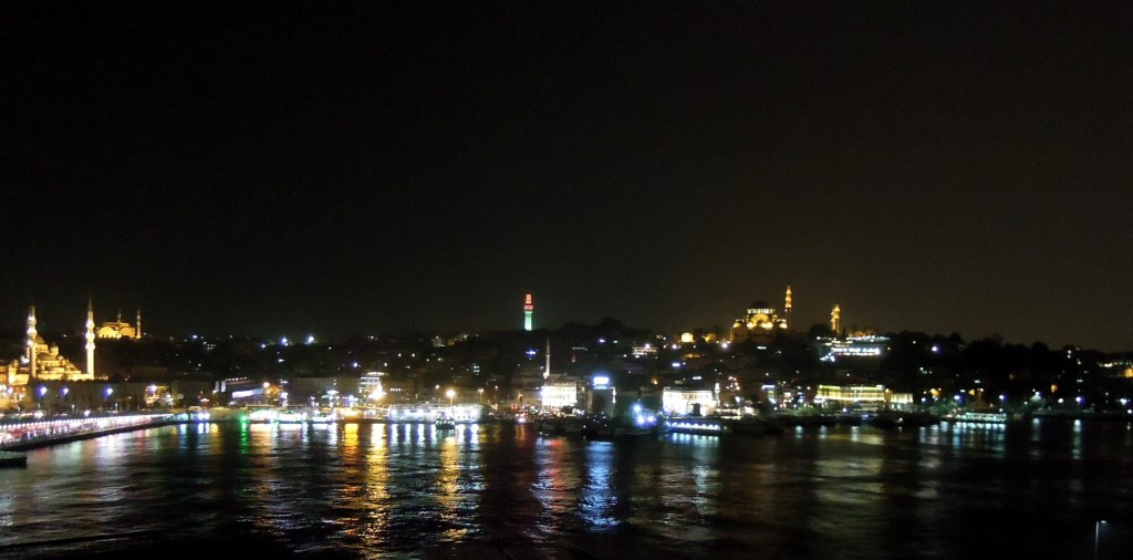 View of Istanbul waterfront at night
