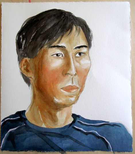 Partially completed portrait of a man
