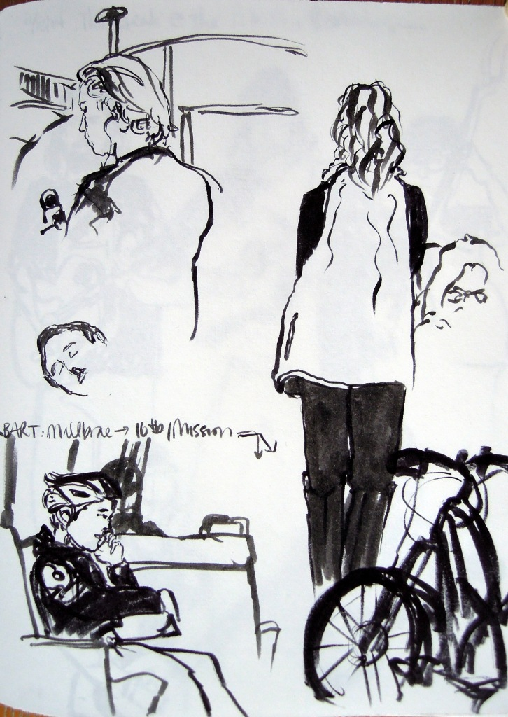 Ink sketches of train commuters