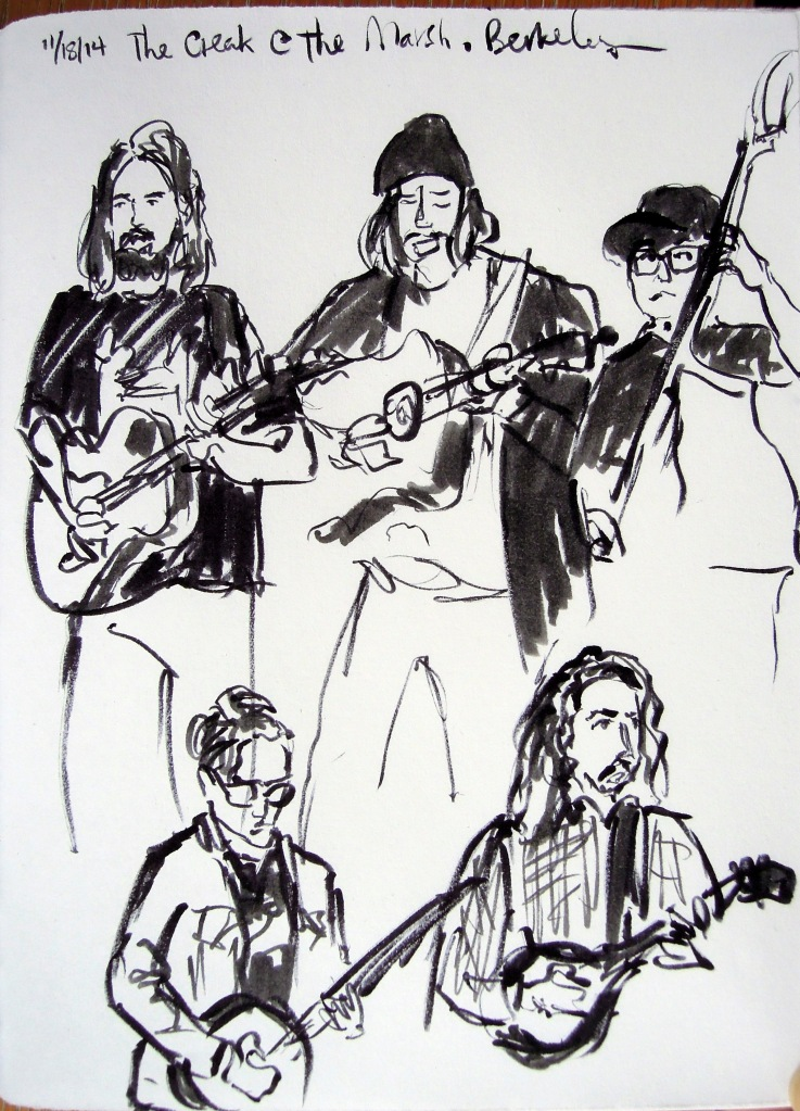 Ink sketches of The Creak (a band)