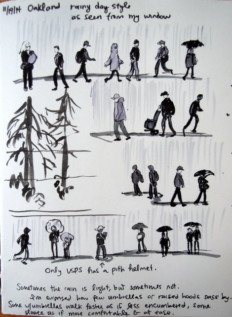 Ink sketches of rainy day passersby