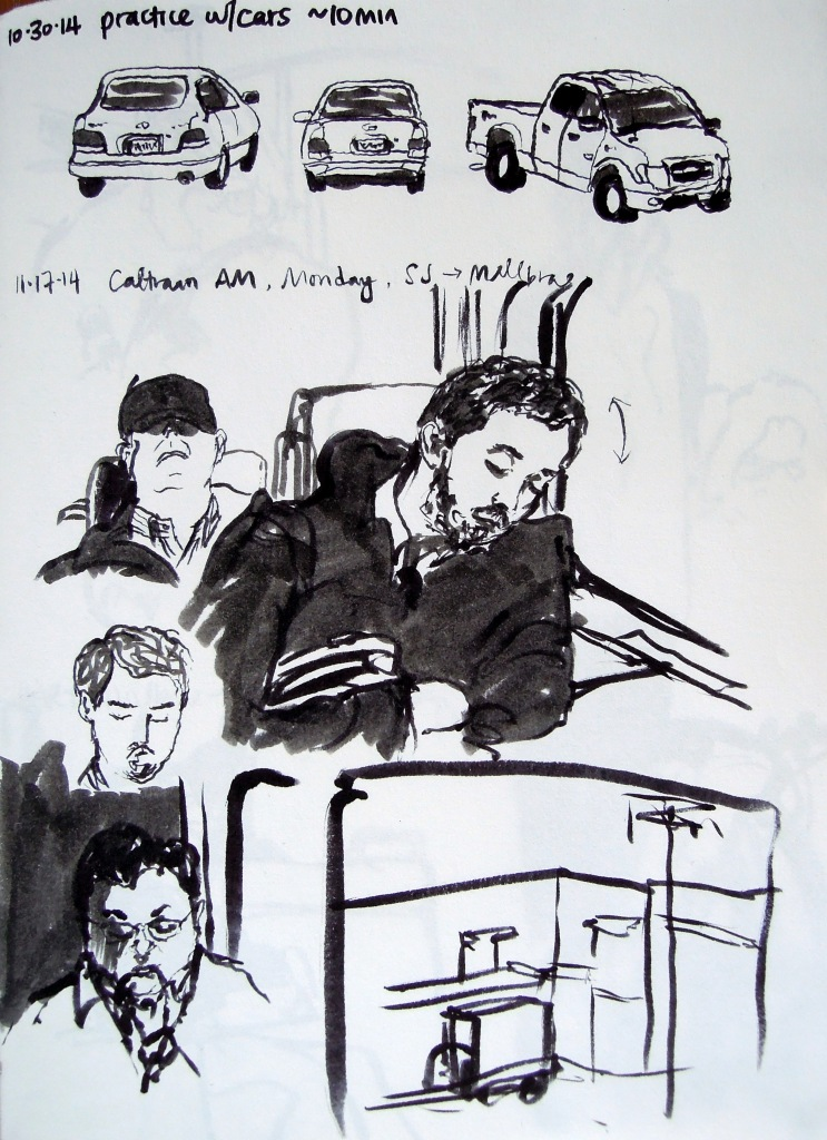 Ink sketches of cars and train passengers