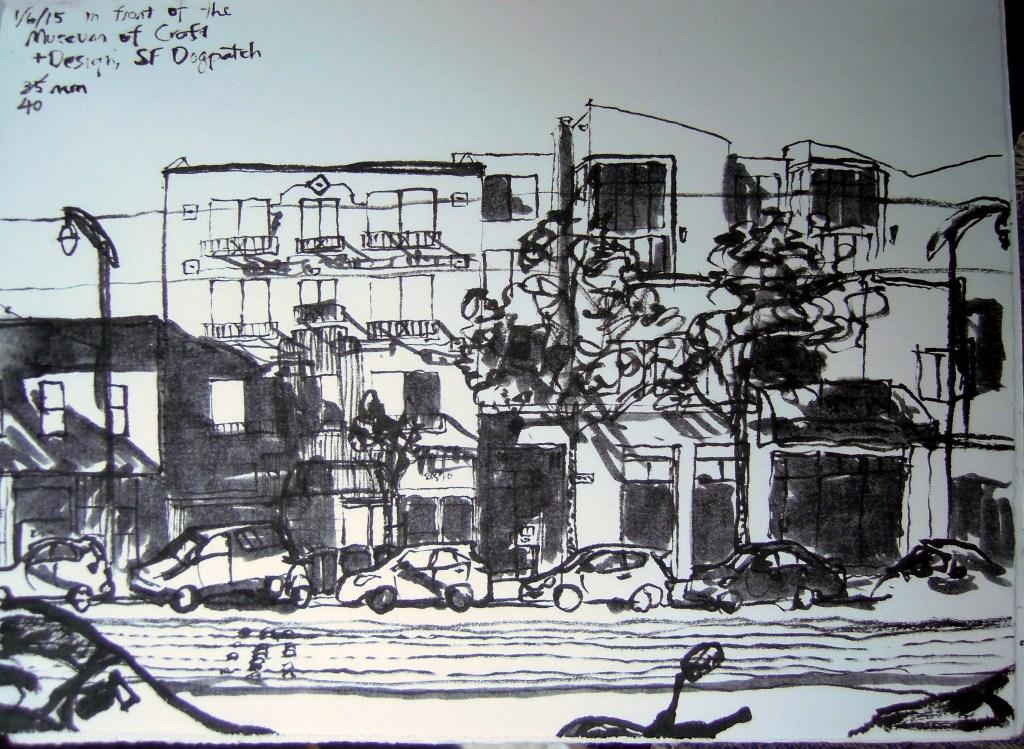 Sketch of Third St, Dogpatch neighborhood, San Francisco