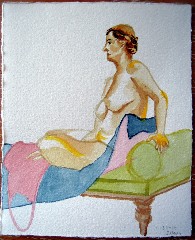 Nude watercolor of a seated woman, by Lisa Hsia