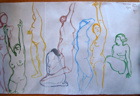 Nude watercolor gesture drawings, by Lisa Hsia