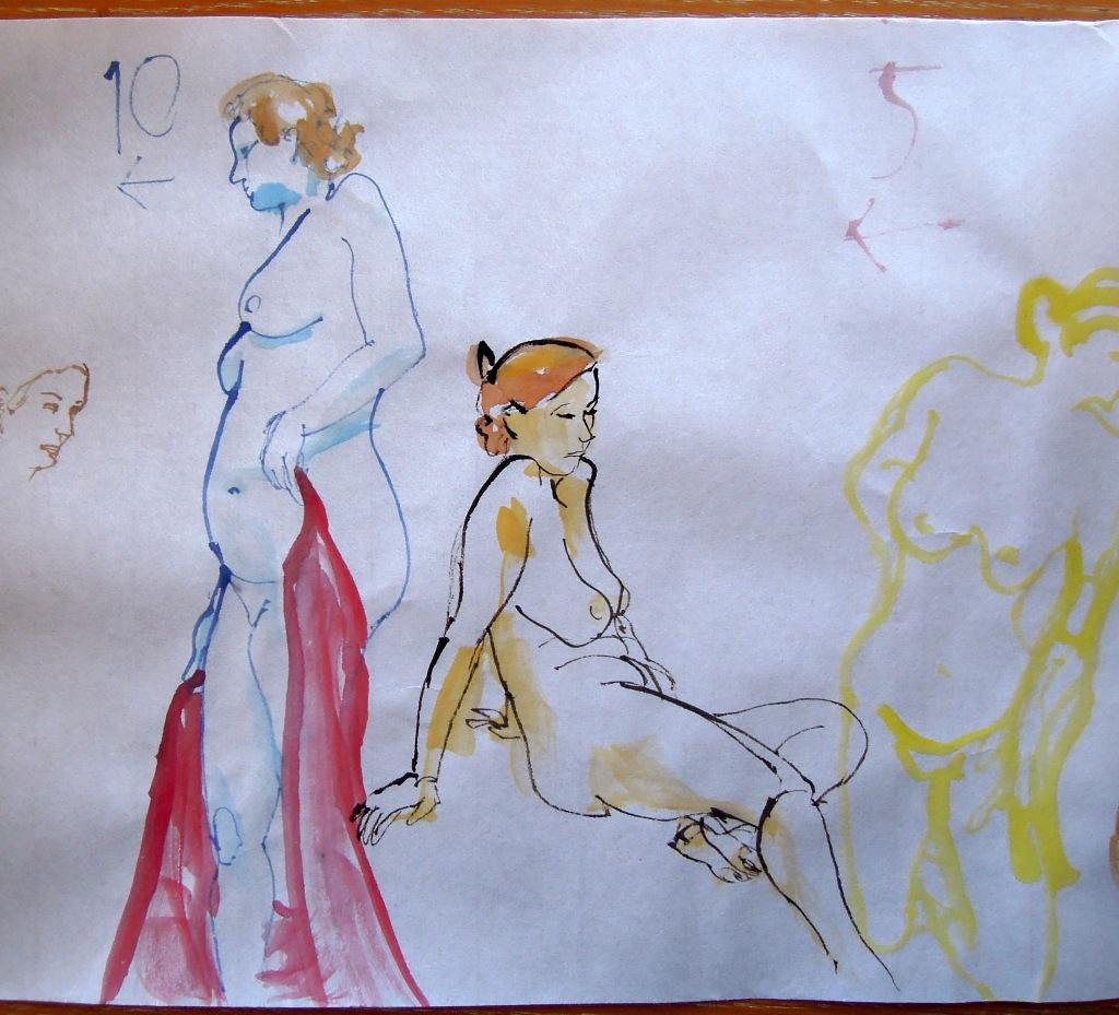 Nude watercolor gesture drawings, by Lisa Hsia