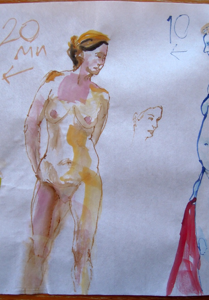 Nude watercolor of a standing woman, by Lisa Hsia