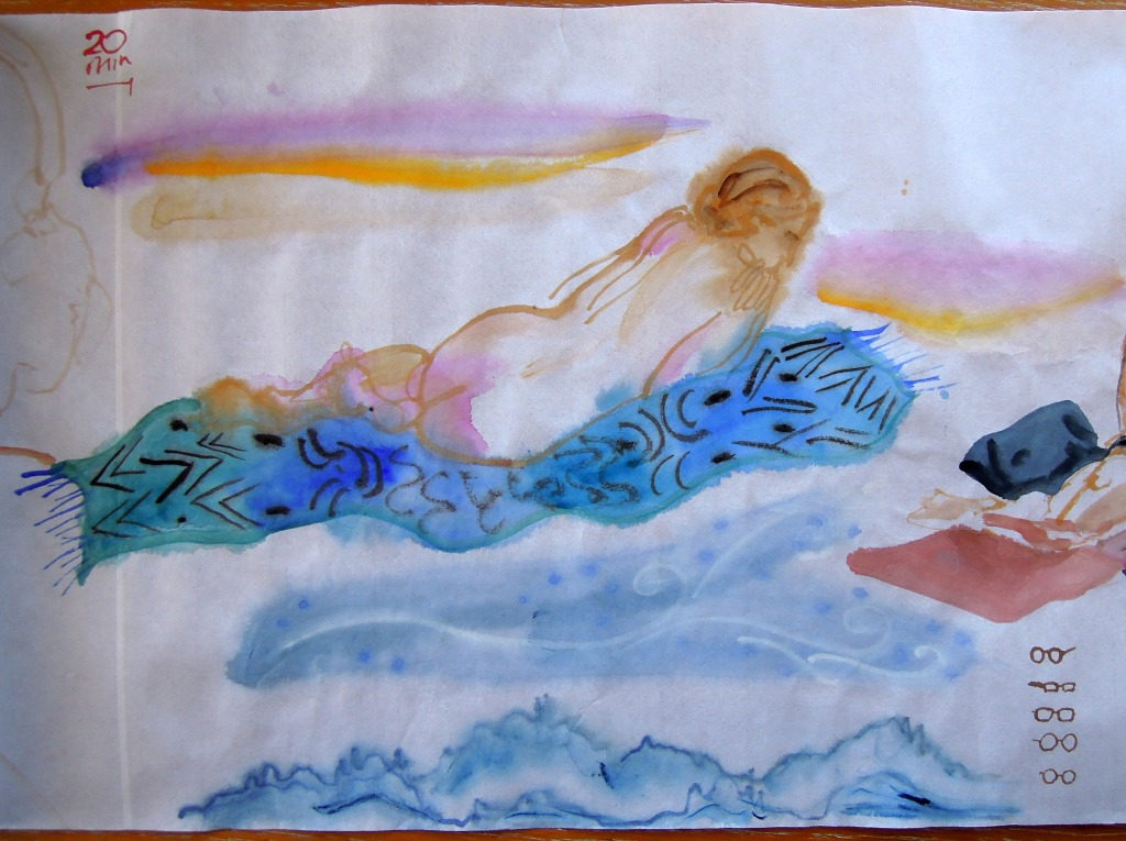 Nude watercolor of a reclining woman, by Lisa Hsia
