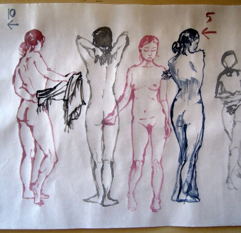 Nude gesture drawings, by Lisa Hsia