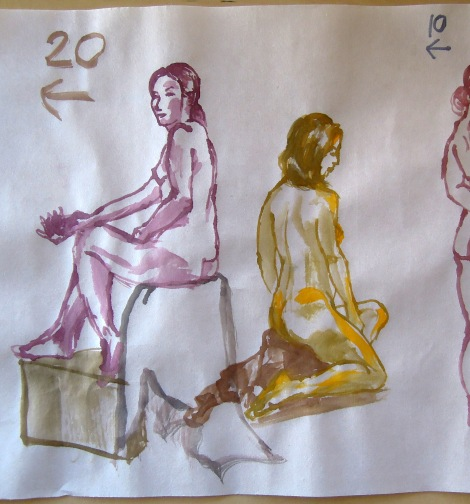 Watercolors of a nude woman, by Lisa Hsia