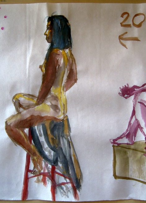 Watercolors of a seated nude woman, by Lisa Hsia