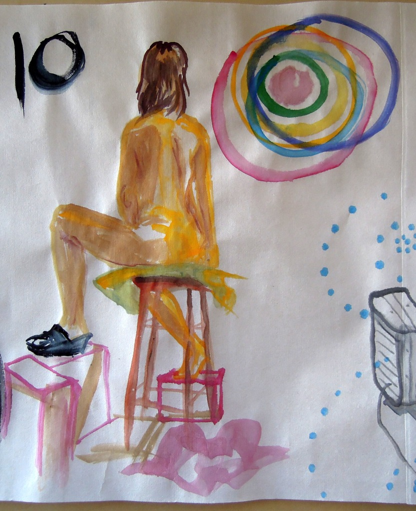 Watercolor of a seated nude woman, by Lisa Hsia