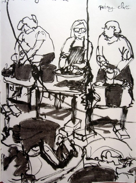 Pottery students at Ybor City Art Studio. Sketch by Lisa Hsia