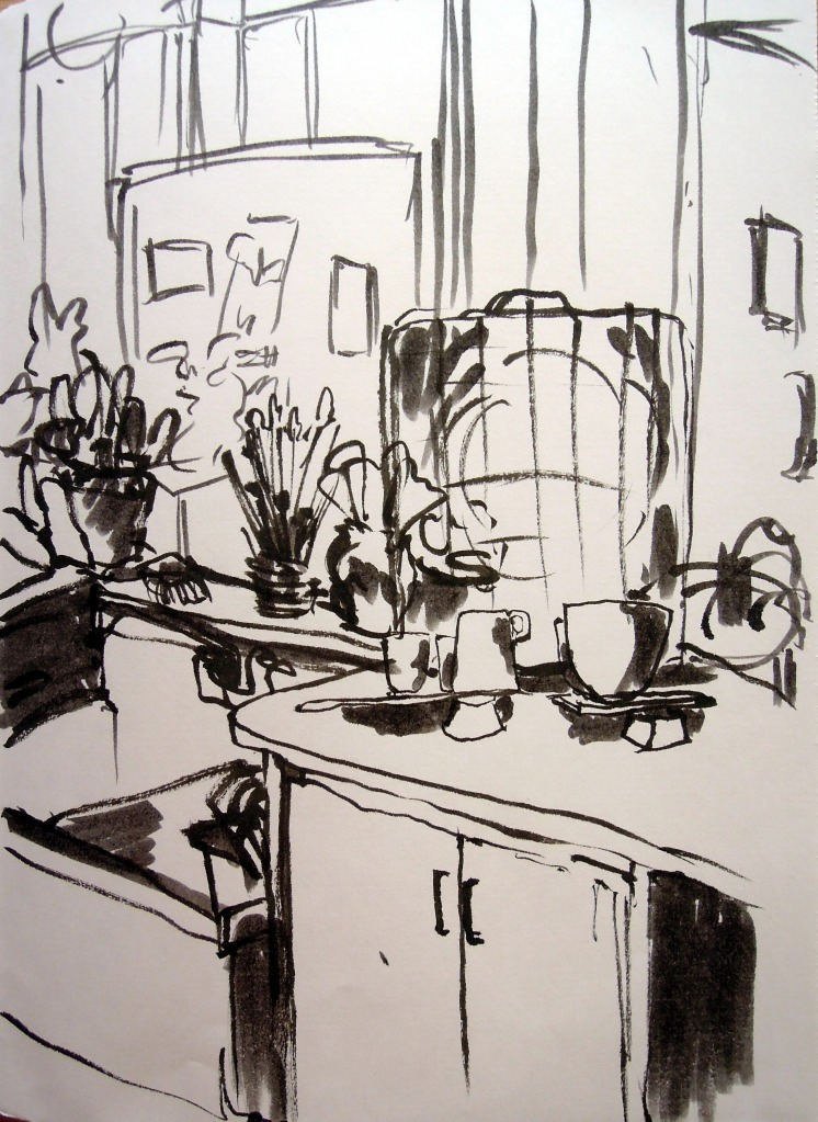 Pottery work space at Ybor City Art Studio. Sketch by Lisa Hsia.