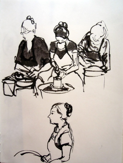 Pottery students and instructor at Ybor City Art Studio. Sketch by Lisa Hsia.