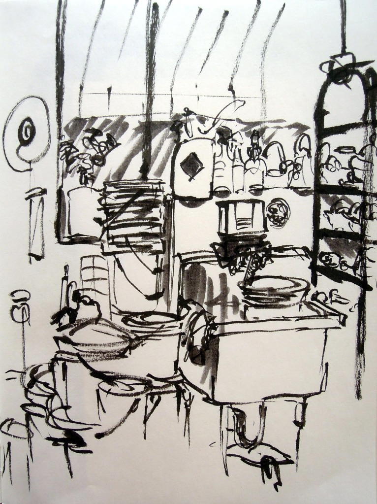 Pottery work area, Ybor City Art Studio. Sketch by Lisa Hsia