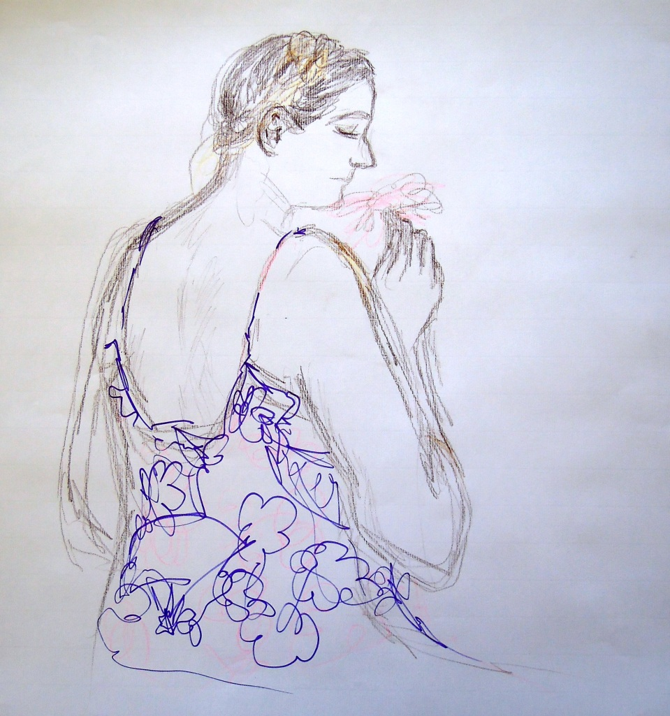 Sketch of Signe seated, by Lisa Hsia